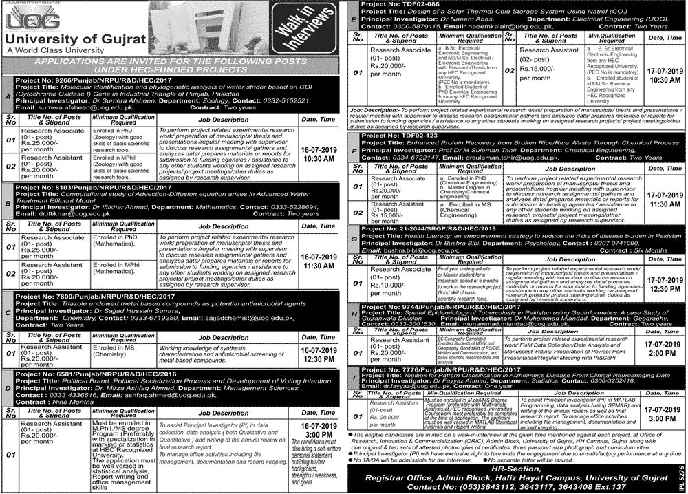 Get a Latest Jobs In University Of Gujrat 2019