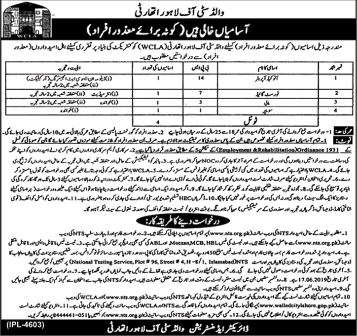 Get a Latest Jobs In Walled City Of Lahore Authority 2019