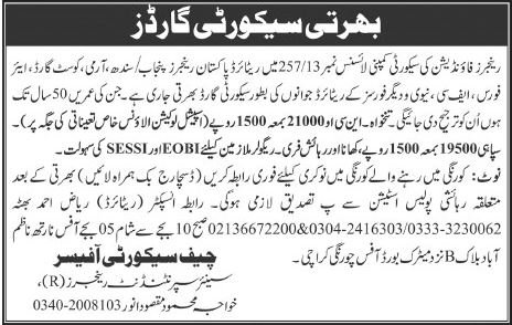 Get a Latest Security Jobs In Pakistan Rangers 2019