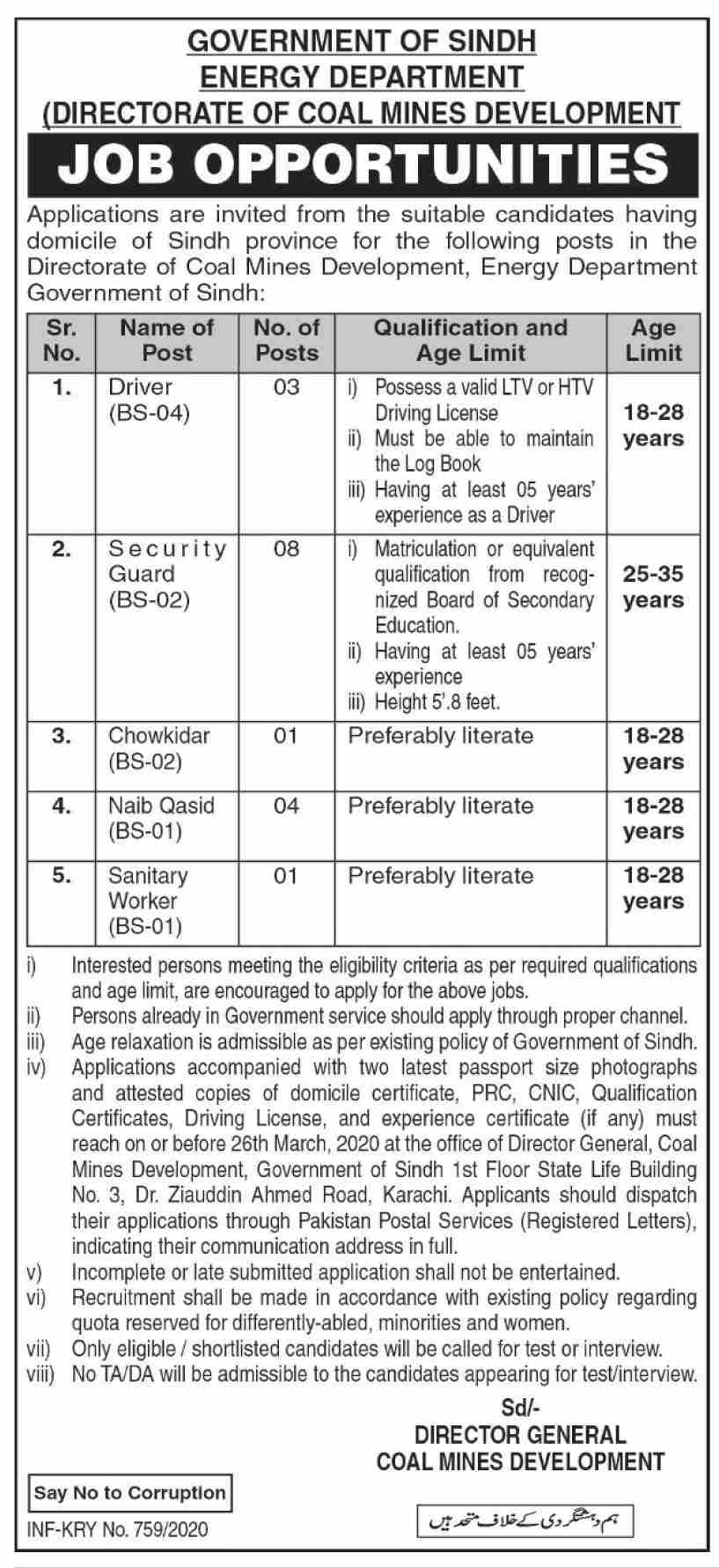 Government Of Sindh Energy Department jobs