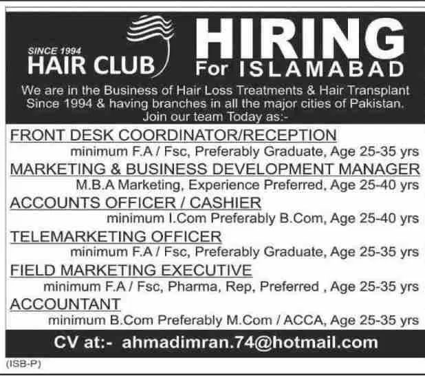Hair Club  Islamabad Offering Jobs 2019