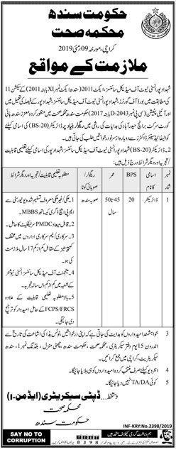 Health Department Of Sindh Offering Jobs 2019