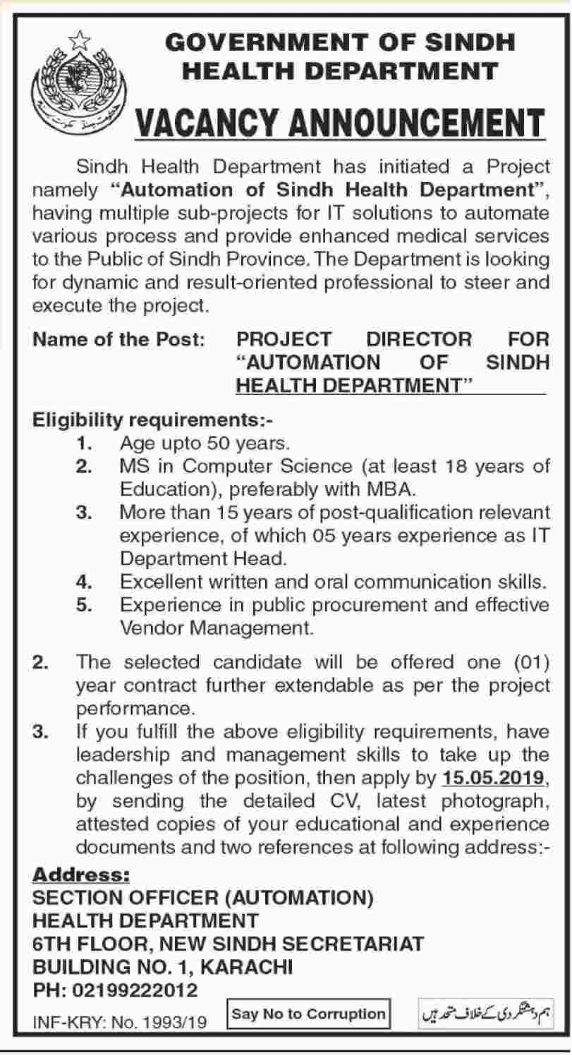 Health Department Of Sindh Offers Job 2019