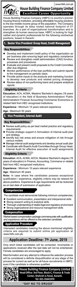 House Building Finance Company Limited Offered Jobs 2019