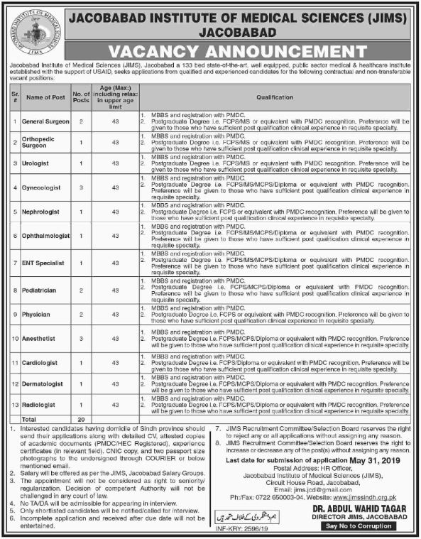 Institute Of Medical Sciences Jacobabad Offers Jobs 2019