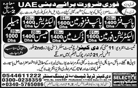 International Job in The Care Trade Test and Training Center 2019
