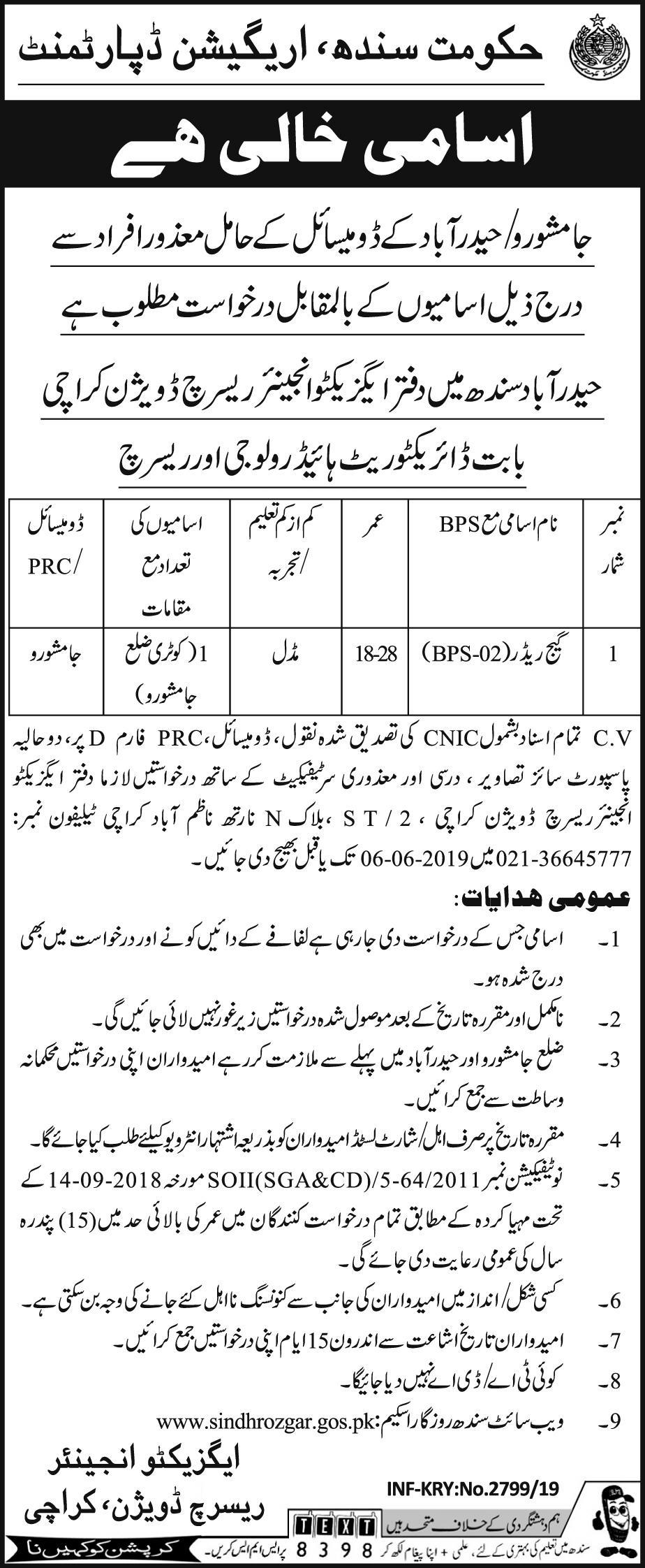 Irrigation Department Sindh Offering Jobs 2019