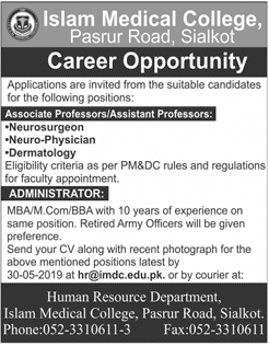 Islam Medical College Sialkot Offering Jobs 2019