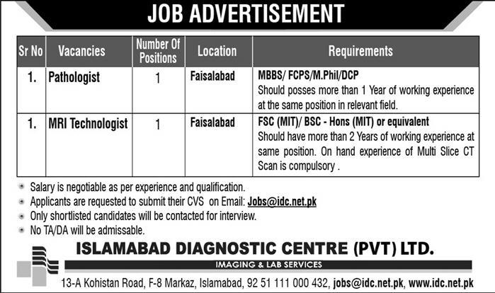Islamabad Diagnostic Center Offers Jobs 2019