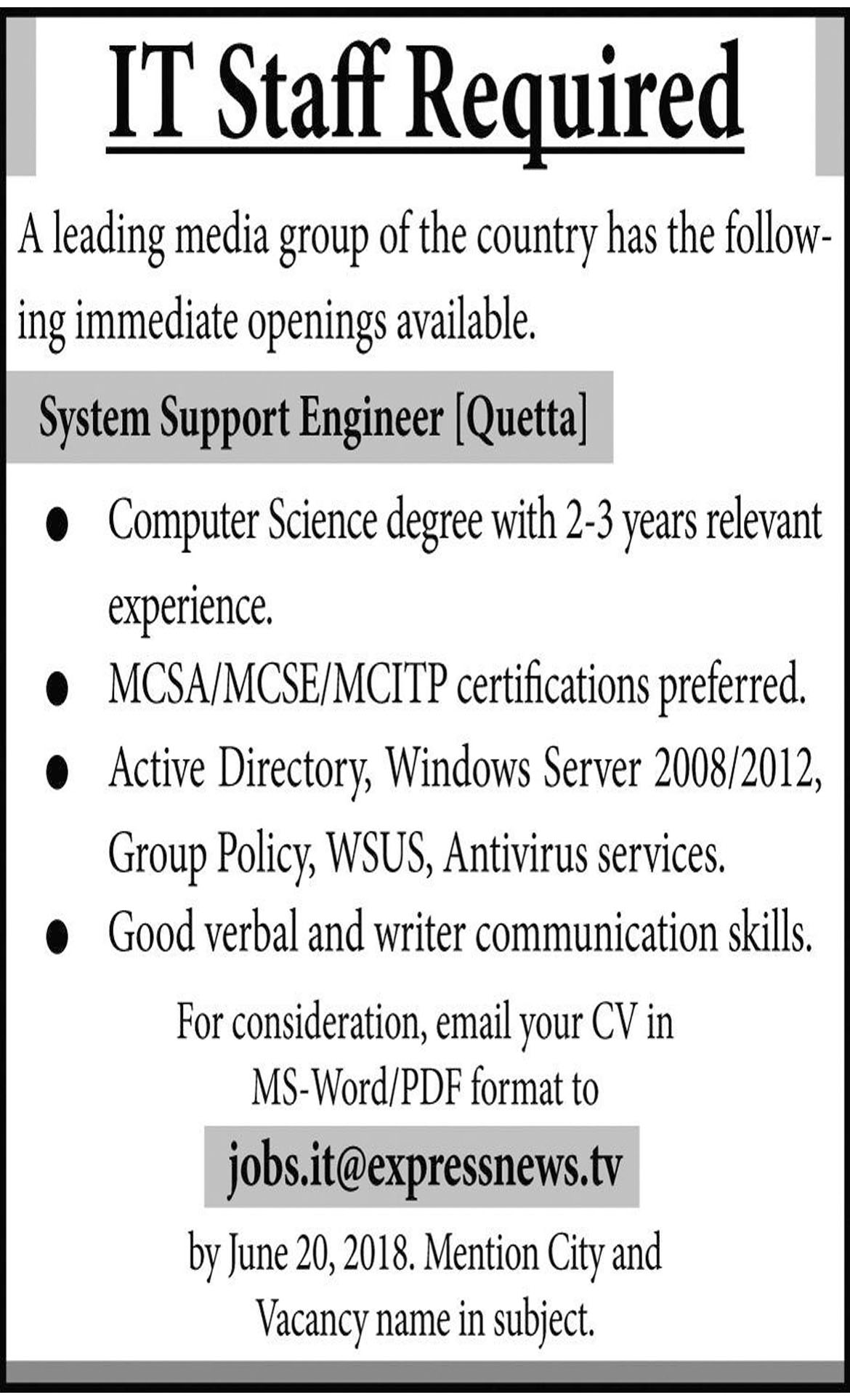 Jobs In IT Staff Required In Quetta 11 Oct 2018