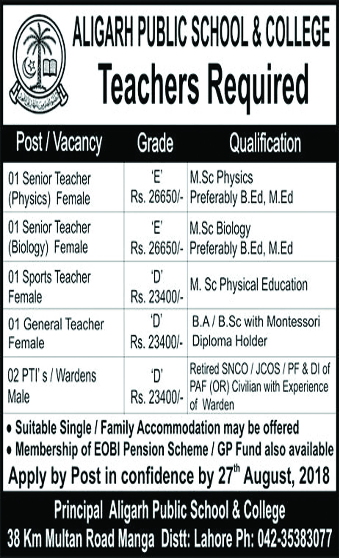 Job In Aligarh Public School And College 16 Aug 2018