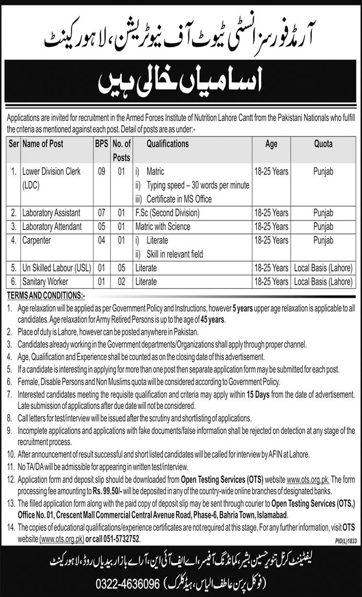 Job In Armed Forces Institute Of Nutrition 19 Dec 2018