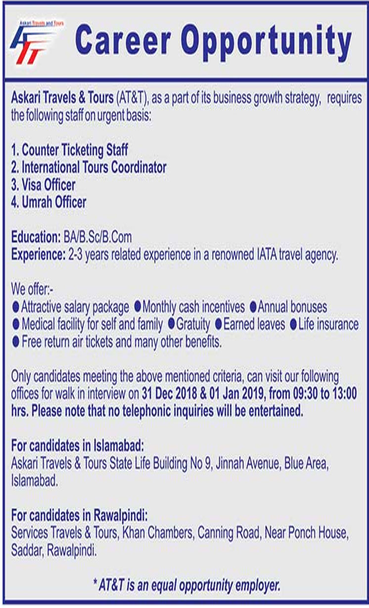 Job In Askari Travels & Tours 26 Dec 2018