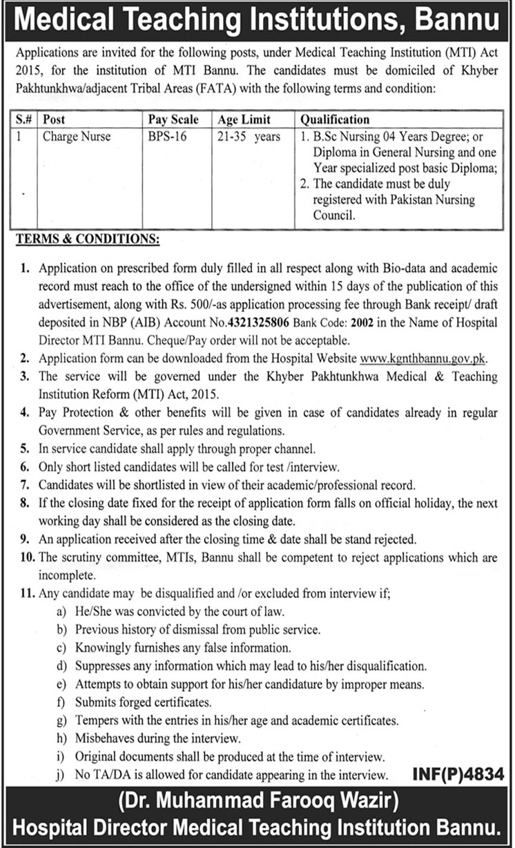 Job In Bannu Medical Teaching Institution 21 Dec 2018