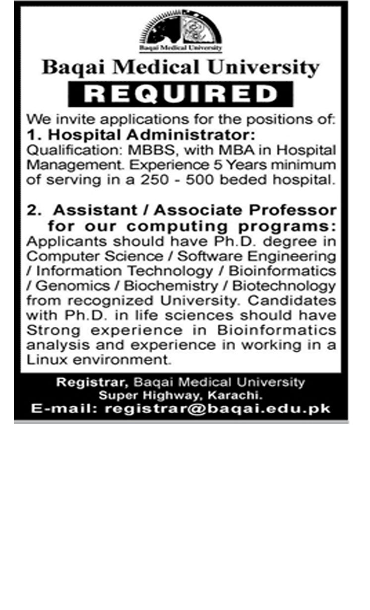 Job In Baqai Medical University 24 Dec 2018