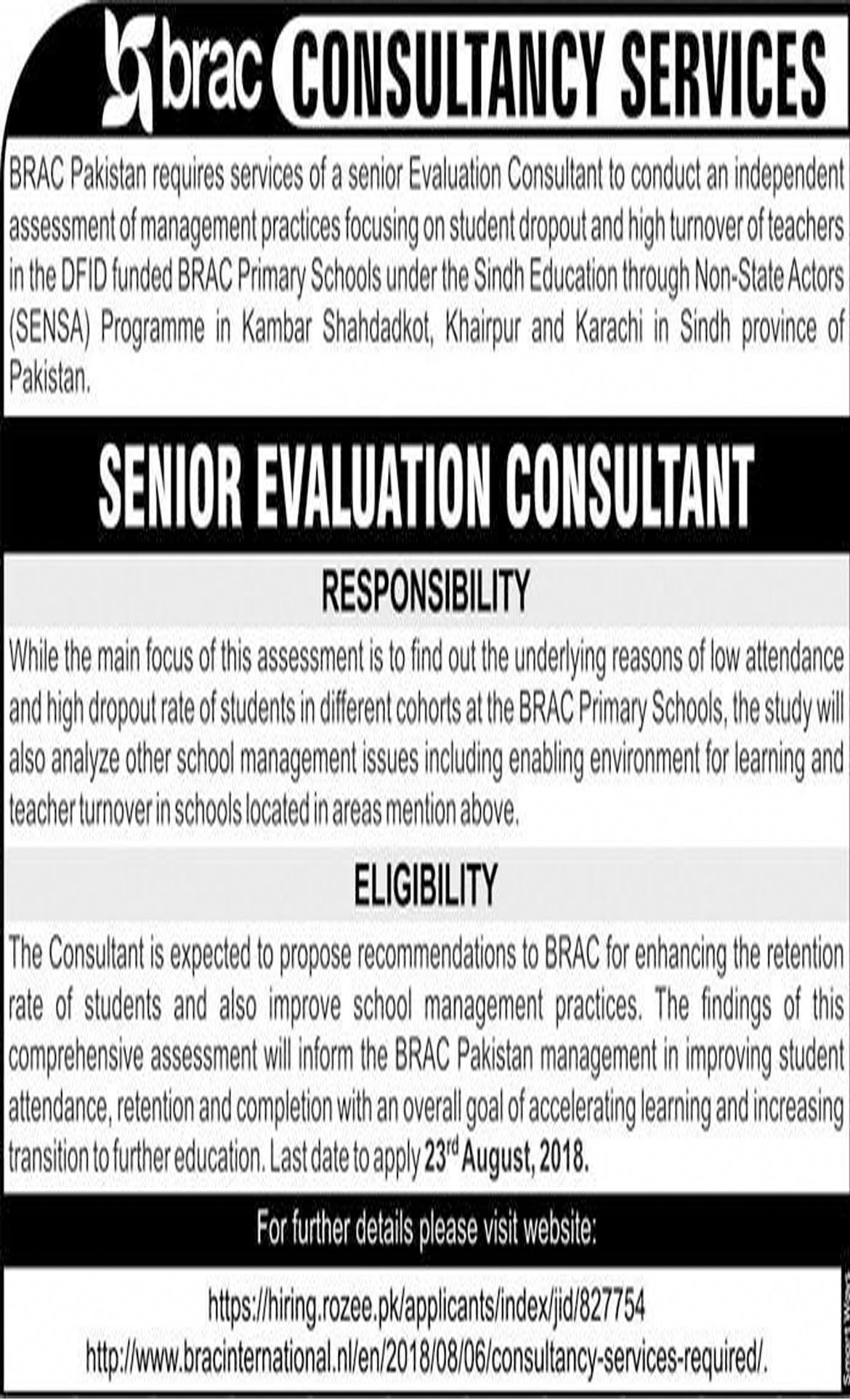 Job In BRAC Consultants Services  9 Aug 2018