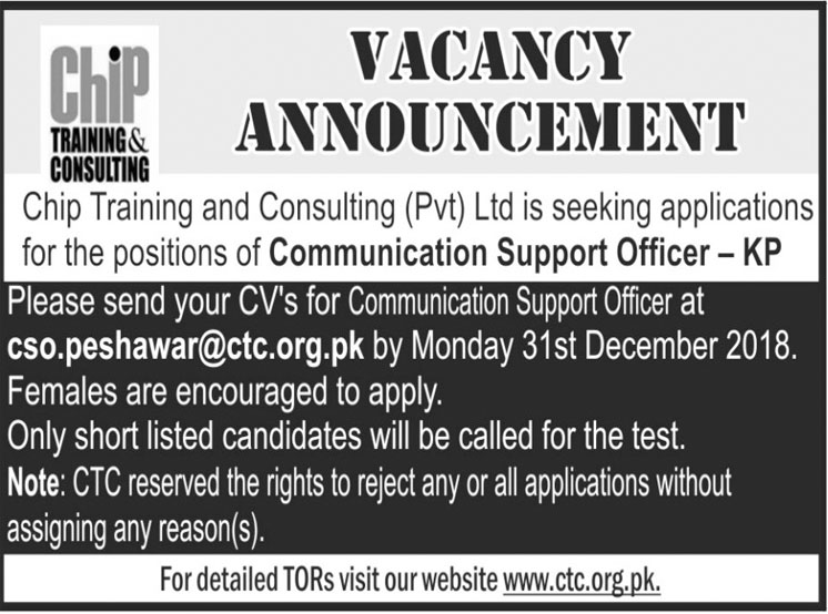 Job In Chip Training And Consulting 28 Dec 2018