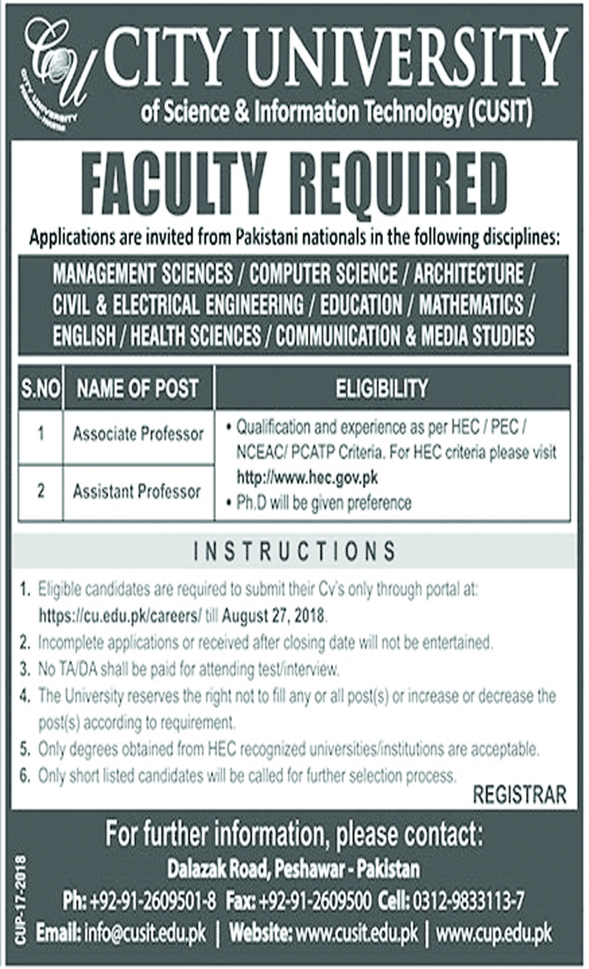 Job In City University Of Science And Information Technology Peshawar 16 Aug 2018