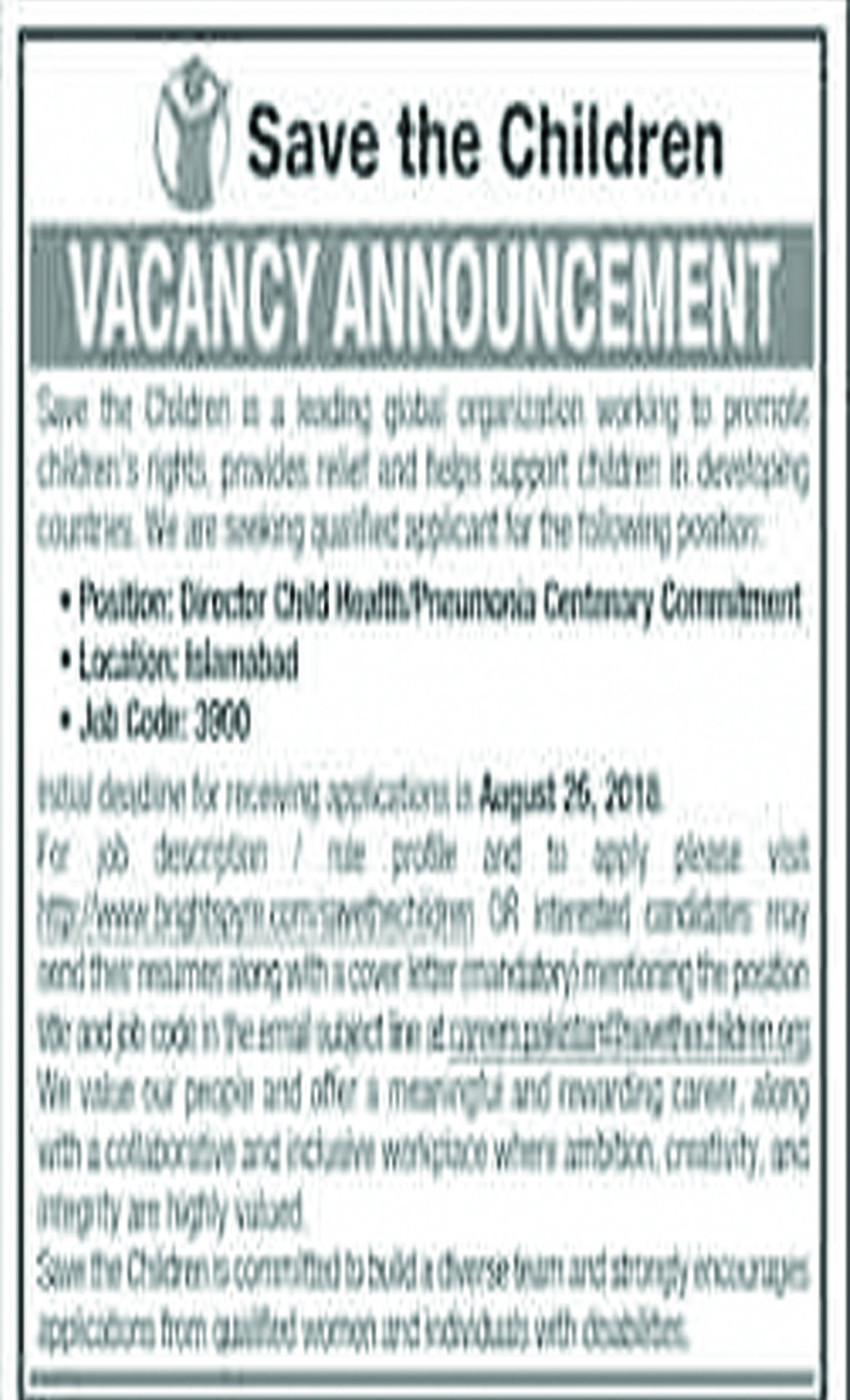 Job In Director Required  In Islamabad 13 Aug 2018