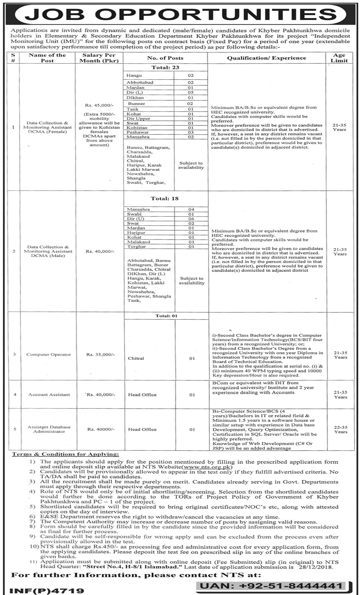 Job In Elementary And Secondary Education Department  13 Dec 2018