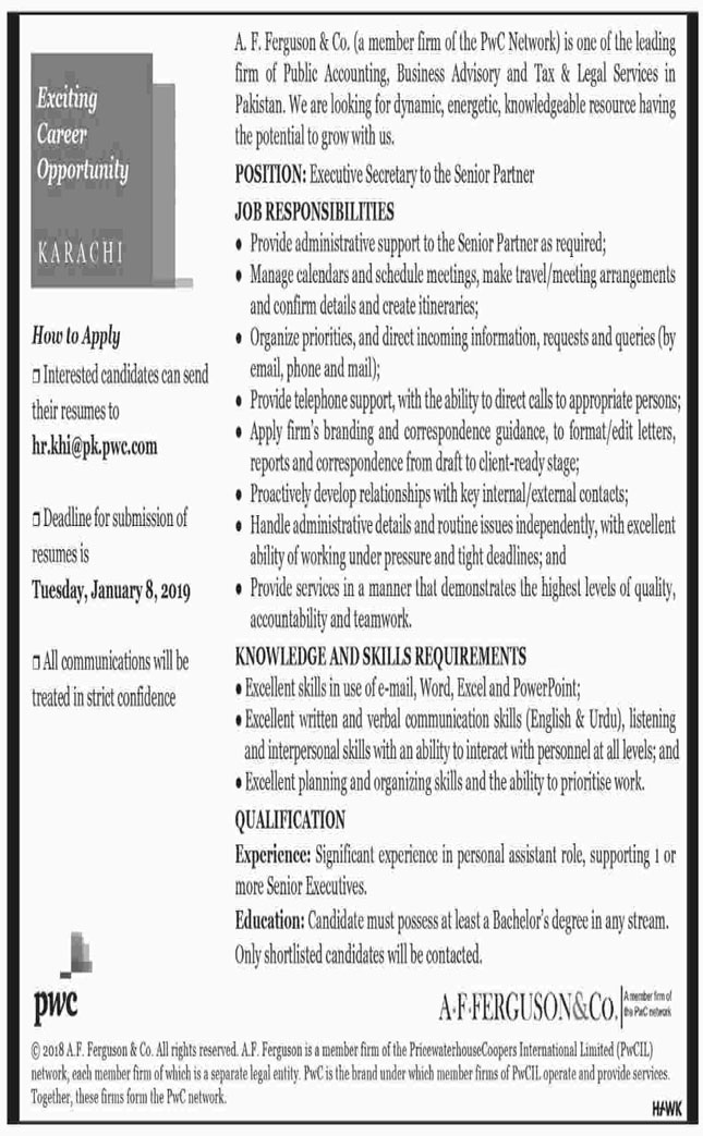Job In Executive Secretary Required 1 Jan 2019