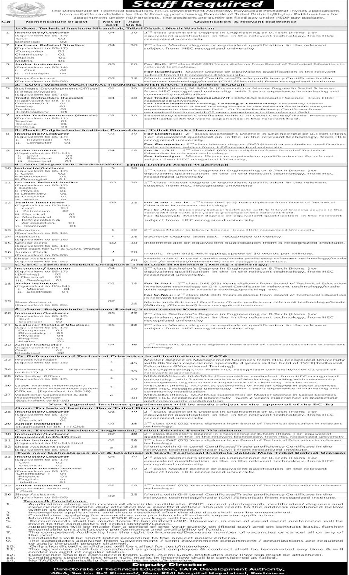 Job In FATA Development Authority 10 Aug 2018