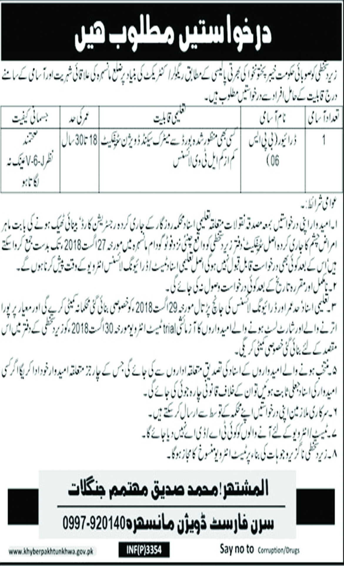 Job In Forest Division Mansehra 17 Aug 2018
