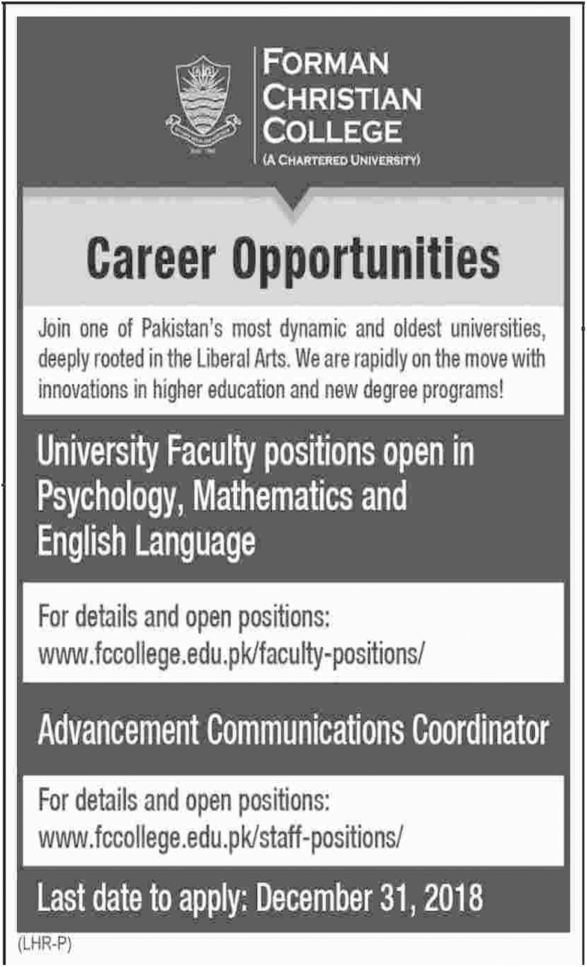 Job In Forman Christian College 18 Dec 2018