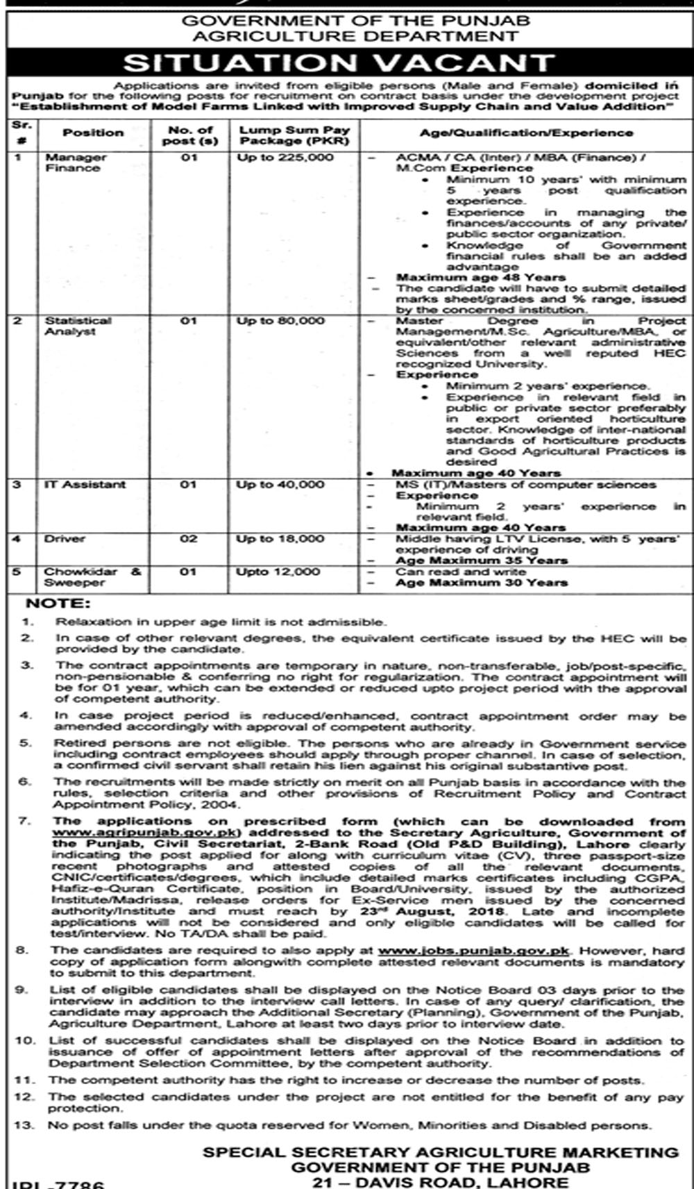 Job in government of the punjab agriculture department 2 Aug 2018
