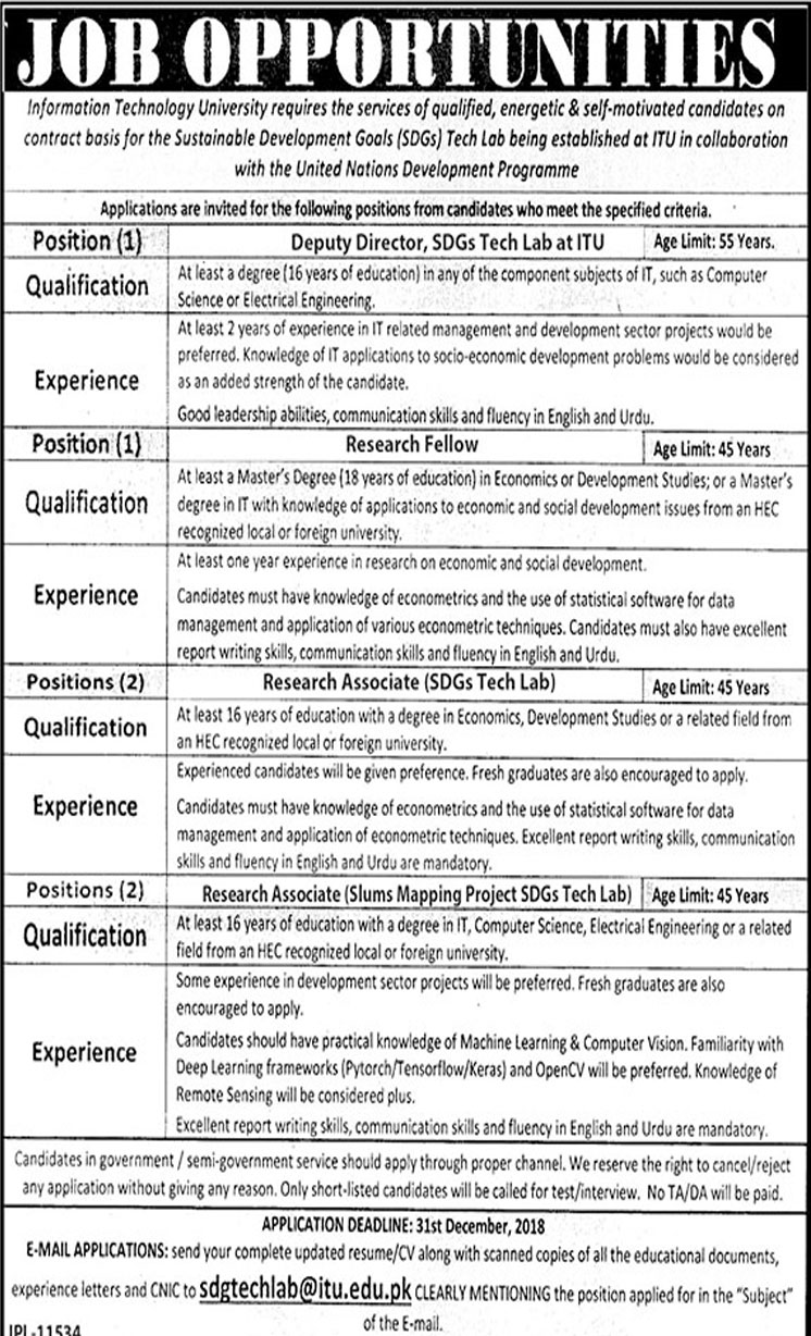 Job In Information Technology University 15 Dec 2018