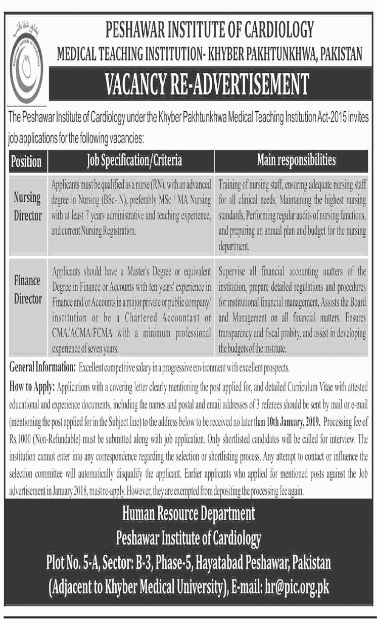 Job In Institute Of Cardiology 18 Dec 2018