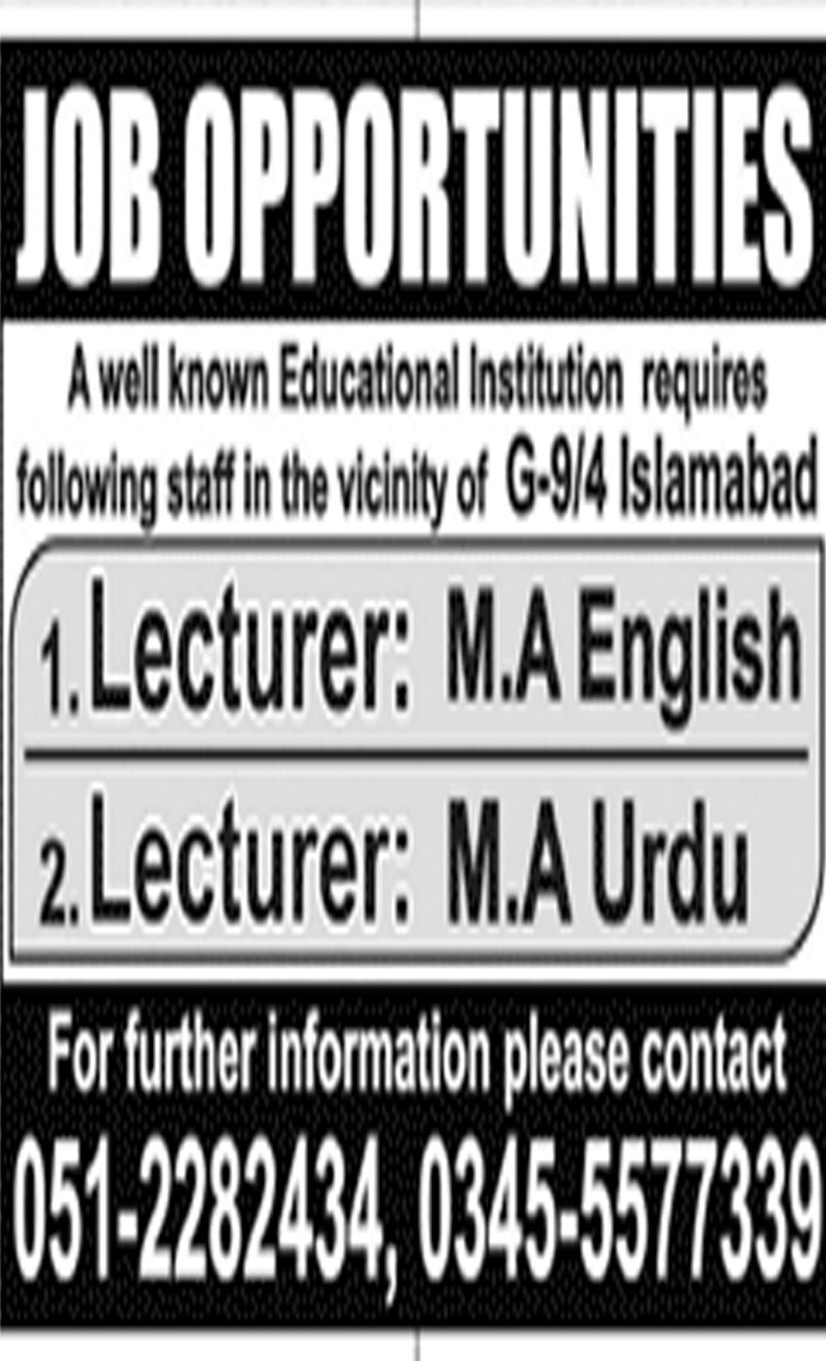 Job In Lecturers Required In Islamabad 06 Nov 2018