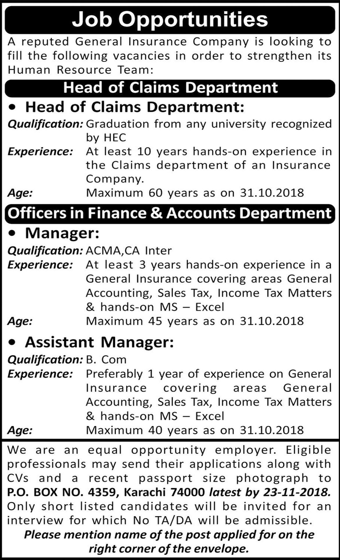 Job In Manager, Assistant Manager Required In Karachi 08 Nov 2018