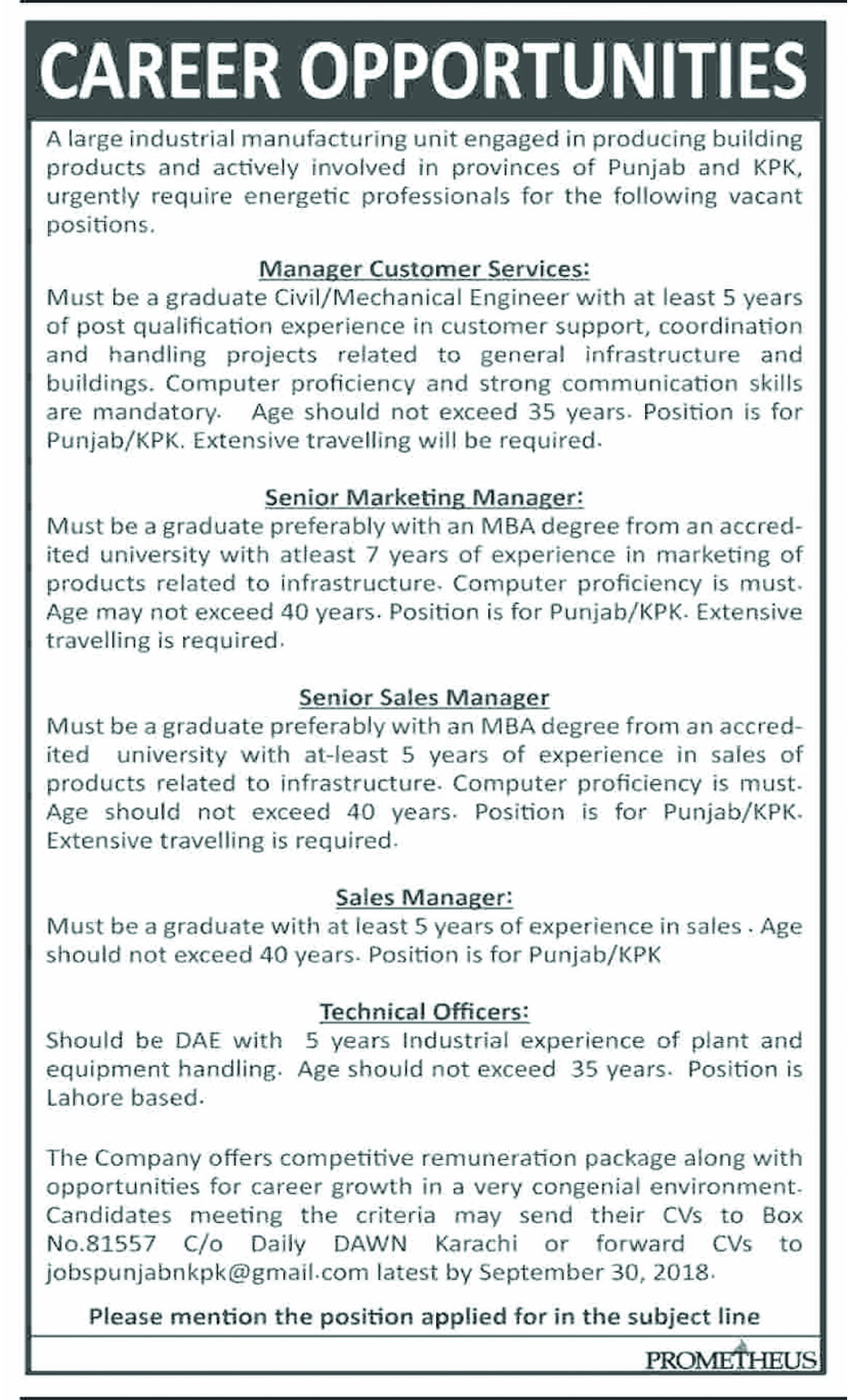 Job In Manager, Technical Officer, Sales And Marketing Manager  17 Sep 2018