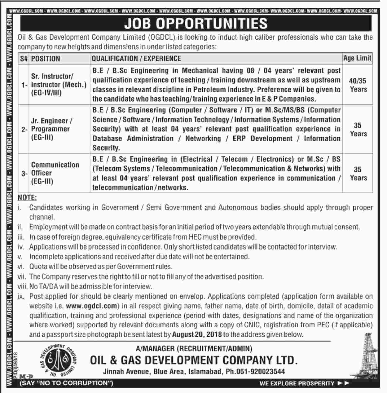 Job In Oil & Gas Development Company Limited 28 July 2018
