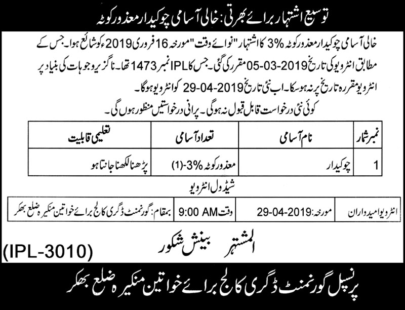 Job in Principal Govt College for Women's 03 Apr 2019