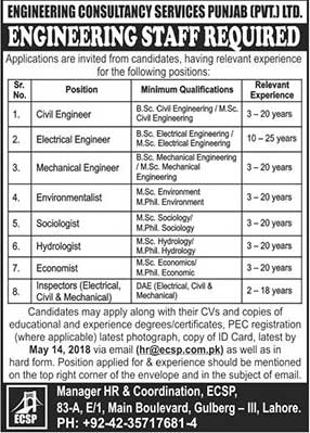 Jobs for Engineering Consultancy Services in Lahore 05 May 2018