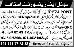 Jobs for Hotel and Resturant Staff in Karachi 11 Feb 2018