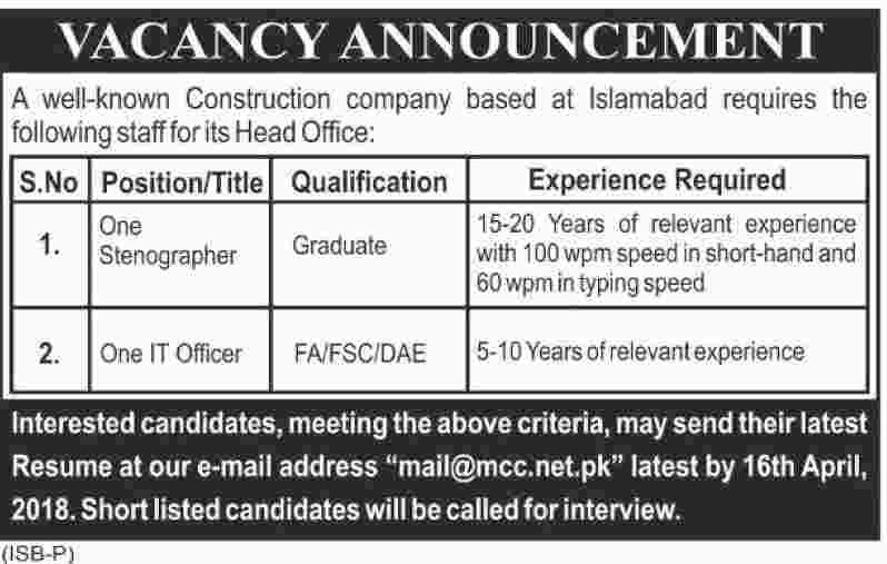 Jobs in a Construction Company in Islamabad 10 April 2018