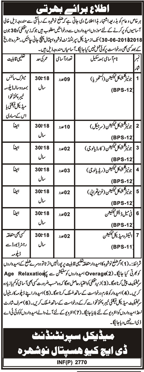 Jobs in a Medical Hospital Nowshera 20 June 2018