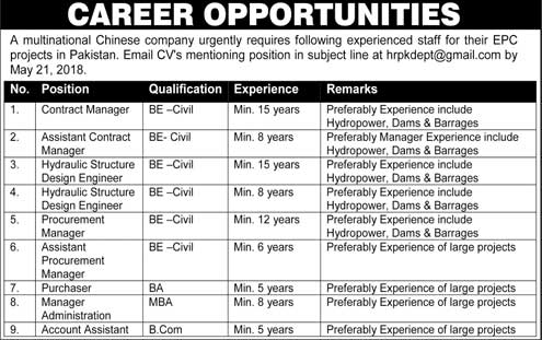 Jobs in a Multinational Chinese Company 08 May 2018