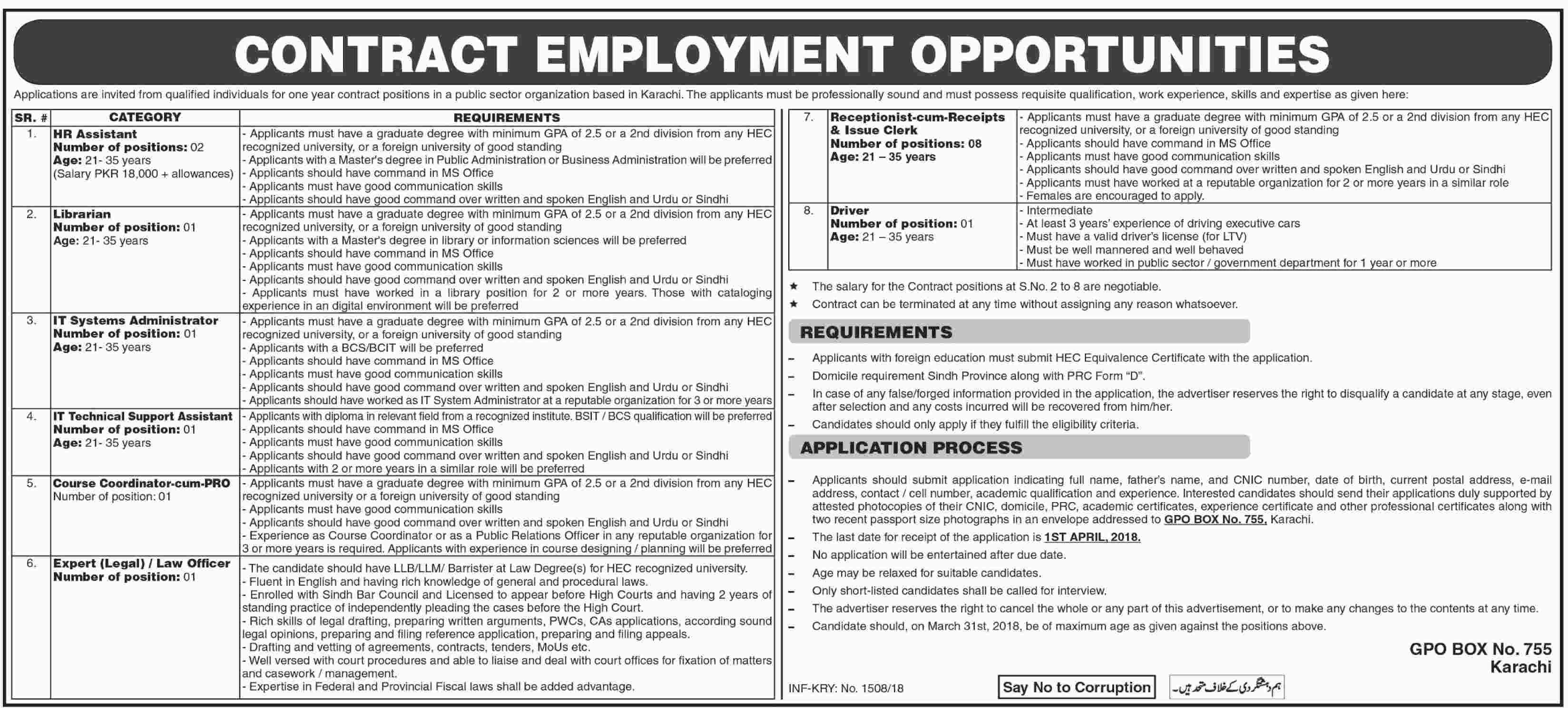 Jobs in a Public Sector Organization 18 March 2018