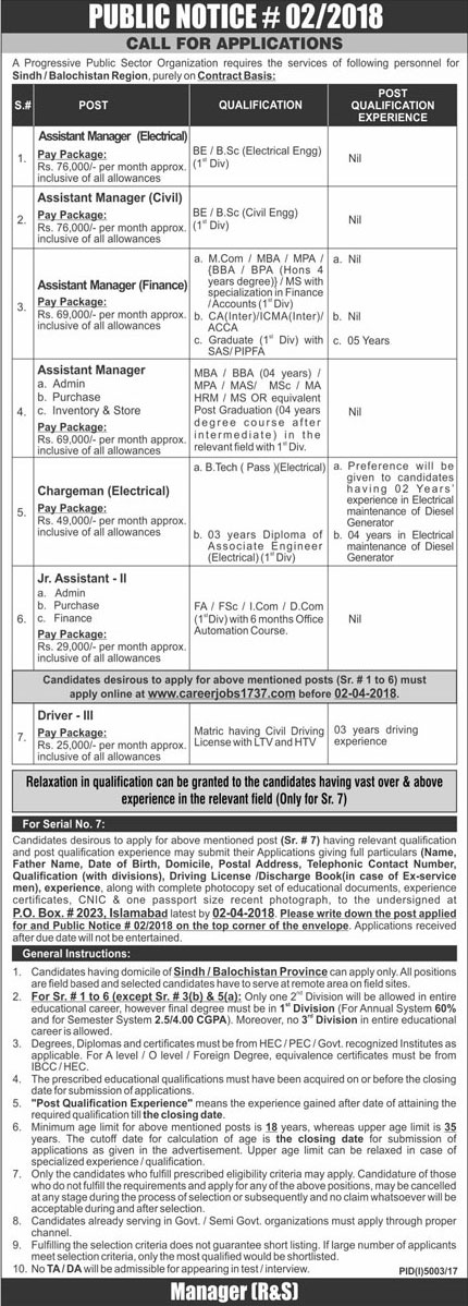 Jobs in a Public Sector Organization in Islamabad 18 March 2018