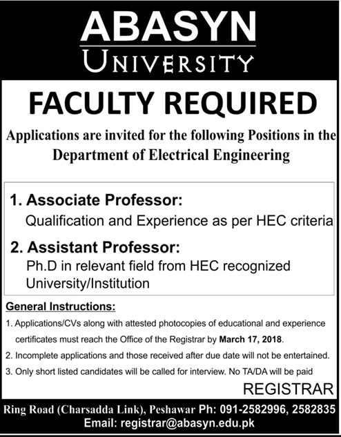 Jobs in Abasyn University in Peshawar 11 March 2018