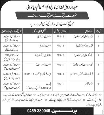 Jobs in Abdul Razzaq Fazaia College MM Alam Mianwali 15 May 2018