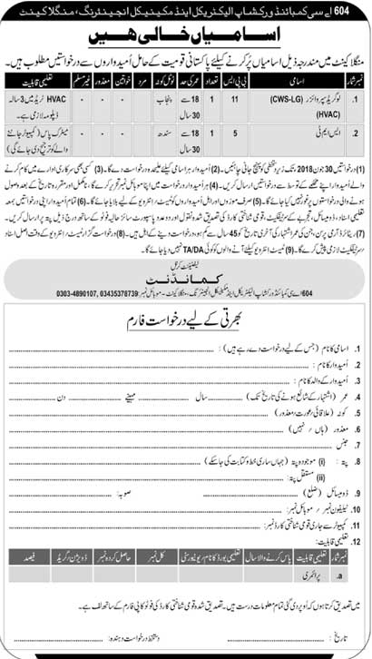 Jobs in AC Combined Workshop Electrical Mangla Cantt 12 June 2018