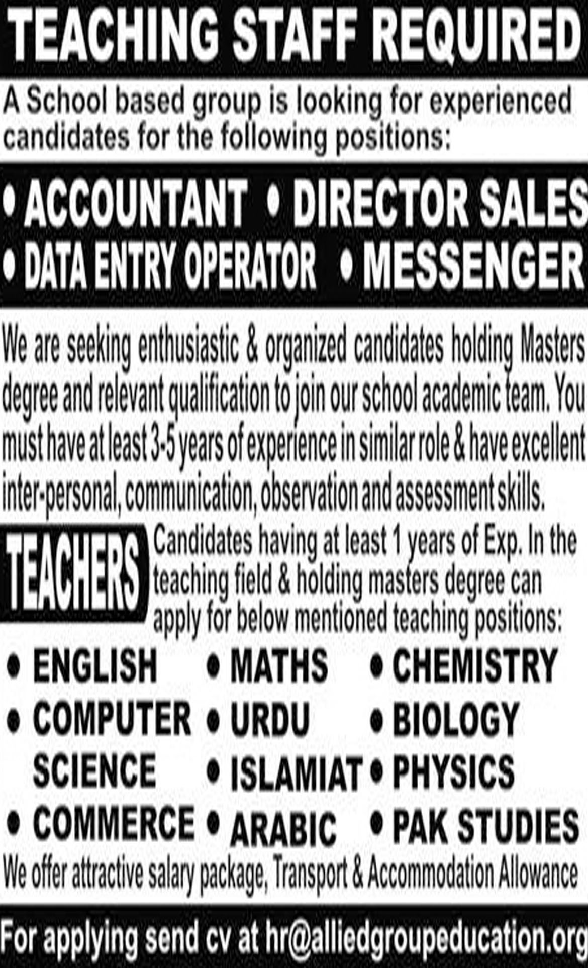 Jobs In Accountant, Data Entry Operator, Director, Teachers Required 07 Nov 2018