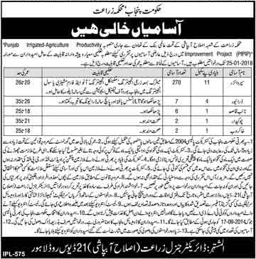 Jobs In Agriculture Department Govt Of Punjab 13 Jan 2018