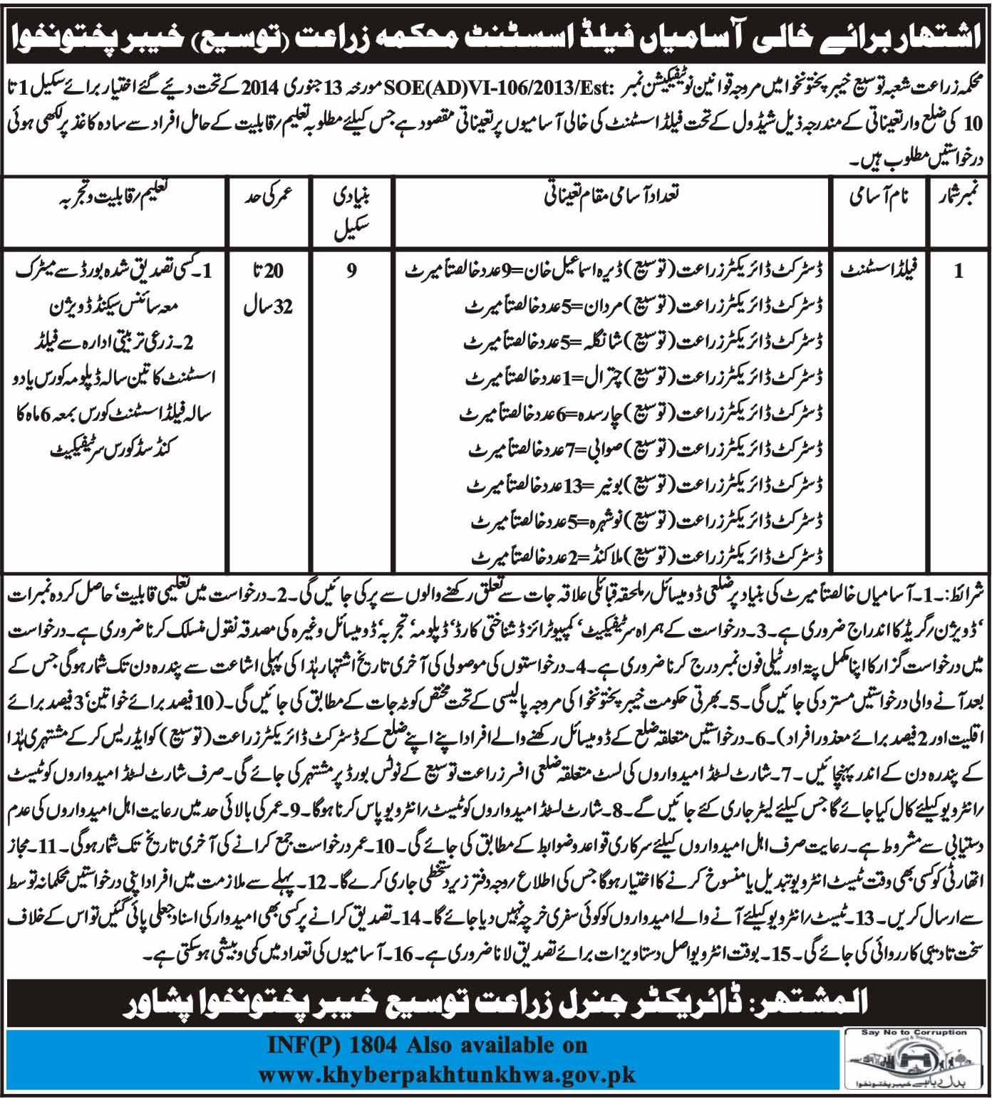 Jobs in Agriculture Department of KPK 13 April 2018