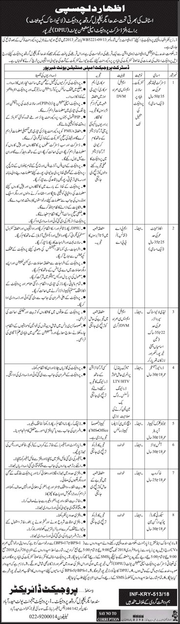Jobs in Agriculture Department Of Sindh 01 Feb 2018